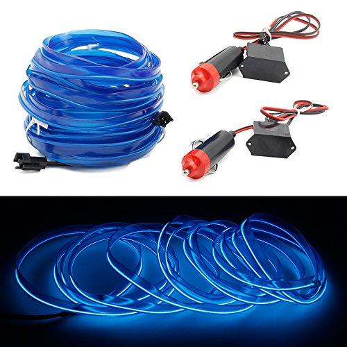 2x1m EL Wire Leuchtschnur Band Lichtschlauch Leucht Schnüre Neon Draht Light Lampe Beleuchtung Lichtband Lichtleiste Streifen für Auto Ambientebeleuchtung - Blau