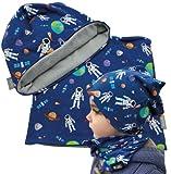 Fantastico set di cappelli e sciarpa: riceverete 1 berretto invernale HECKBO e 1 sciarpa HECKBO Winter Loop su cui un motivo astronauto adatto ai bambini con la terra, un satellite e diversi pianeti in colori vivaci, un must have per tutti gli astron...