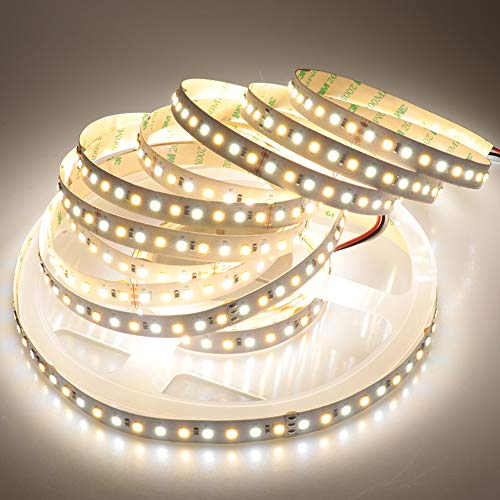 LTRGBW Super brillante no impermeable 2835 SMD 24 V 600 LEDs Luz de tira LED flexible blanca bicolor de color blanco doble 16.4 pies (5 m)