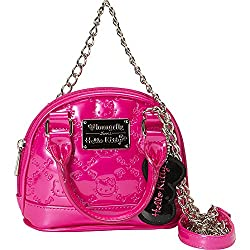 17633818d60b This Hello Kitty purse is super glam and chic with its vinyl design and  silver chain. Kitty s adorable face is embossed on the purse.