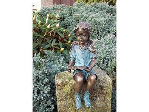 H. Packmor GmbH - Figura de bronce sentado con libro para decoración de jardín