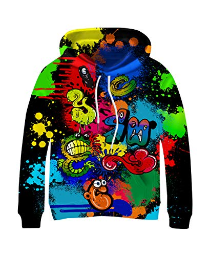 Kayolece Cool Sweatshirts for Boys Girls 3D Funny Animal Big Face Graphic Hooded Hoodies for Sports Outfit 12-14Y Size XXL
