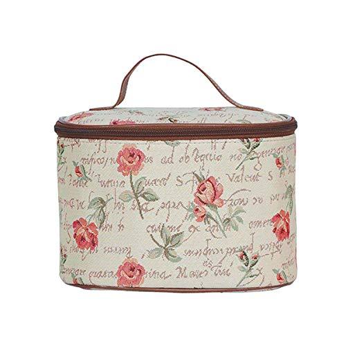 Signare Tapestry Toiletry Bag Makeup Vanity Bag for Women with Floral Designs (Rink Rose; Toil-RSPK)