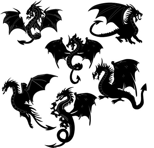 Dragons Scrapbooking Laser Cut Chipboard - 6 Piece Set Black Color |