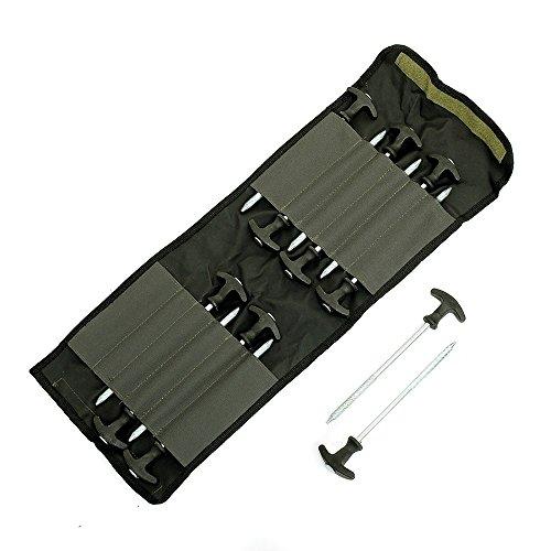 Lucx® Heringe-Set 12-TLG + Tasche für Bivvy/Erdnägel/Zeltnägel/T-Pegs für Angelzelte