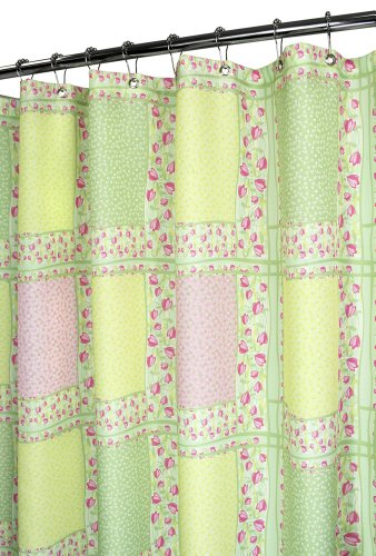 Green shower curtain with pink tulips and squares design