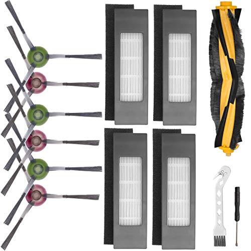QAQGEAR Ersatzteile Zubehör Set für Ecovacs DEEBOT OZMO T8 AIVI T8 Max T8 950 920 Staubsauger Roboter, mit 6 Seitenbürsten, 1 Hauptbürste, 4 Filtern, 2 Werkzeugen