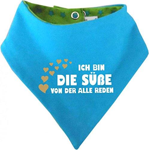 KLEINER FRATZ Kleiner Fratz Kinder Wendehalstuch Sternchen (Farbe lime-royal) (Gr. 1 (0-74) Ich bin die Suesse von der alle reden