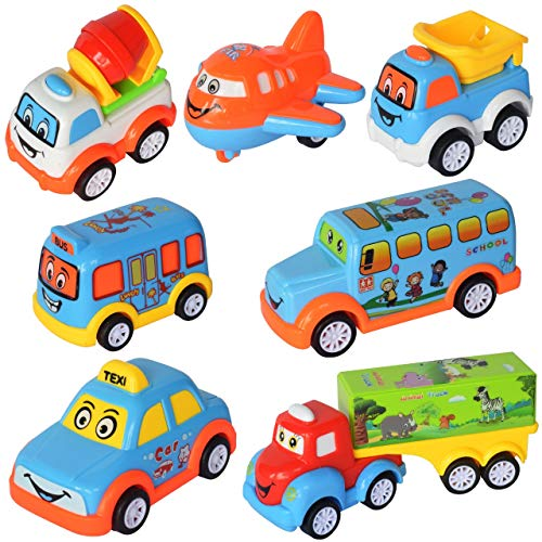 WISHKEY Plastic Power Friction Pull Back, Push and Go Car, Cute Crawling Miniature Vehicle Toy for Toddler Kids 3 Years & Above (Pack of 7, Multicolor)
