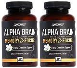 ONNIT Alpha Brain (180ct) - Premium Nootropic Brain Supplement - Focus, Concentration & Memory - Alpha GPC, L Theanine & Bacopa Monnieri