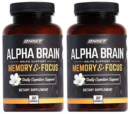 ONNIT Alpha Brain (180ct) - Over 1 Million Bottles Sold - Premium Nootropic Brain Supplement - Focus, Concentration & Memory - Alpha GPC, L Theanine & Bacopa Monnieri