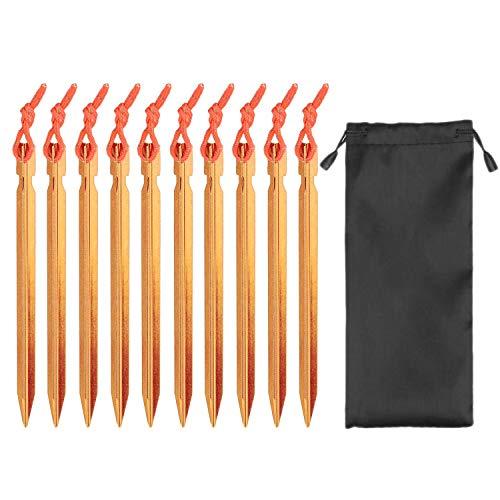 ViViKaya piquetas Camping [10 Piezas] Clavijas de aleación de Aluminio de 18CM para Tienda Clavijas de Arena para uñas de Tienda con Cuerda Reflectante y Bolsa de Almacenamiento