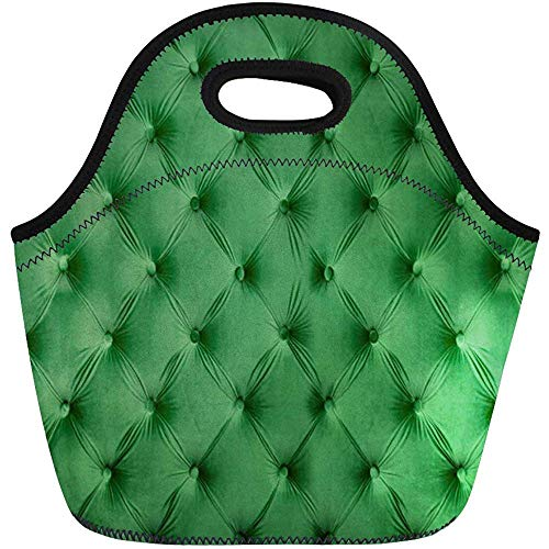 Lunch Tassen Retro Green Capitone Chesterfield Classic Interieur Neopreen Lunch Bag Lunchbox Tote Bag Draagbare Picknick Bag Cooler Bag