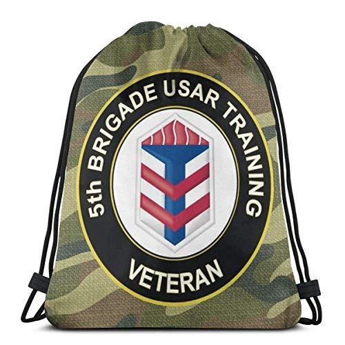XCNGG Bolsa con cordón Bolsa con cordón Bolsa portátil Bolsa de Gimnasio Bolsa de Compras US Army Veteran 5th Brigade Usar Training Drawstring Backpack Rucksack Shoulder Bags Gym Bag