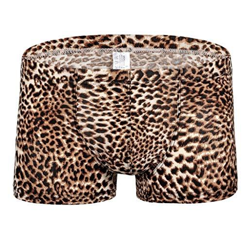 Aiserkly Herren Unterwäsche Men's Boxershorts Unterhosen New Leopard-Print Low-Waist Sweat-Absorbing Flat-Angle Underwear Braun L