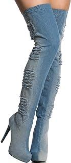 Boots Women's Thigh Boots Waterproof Platform