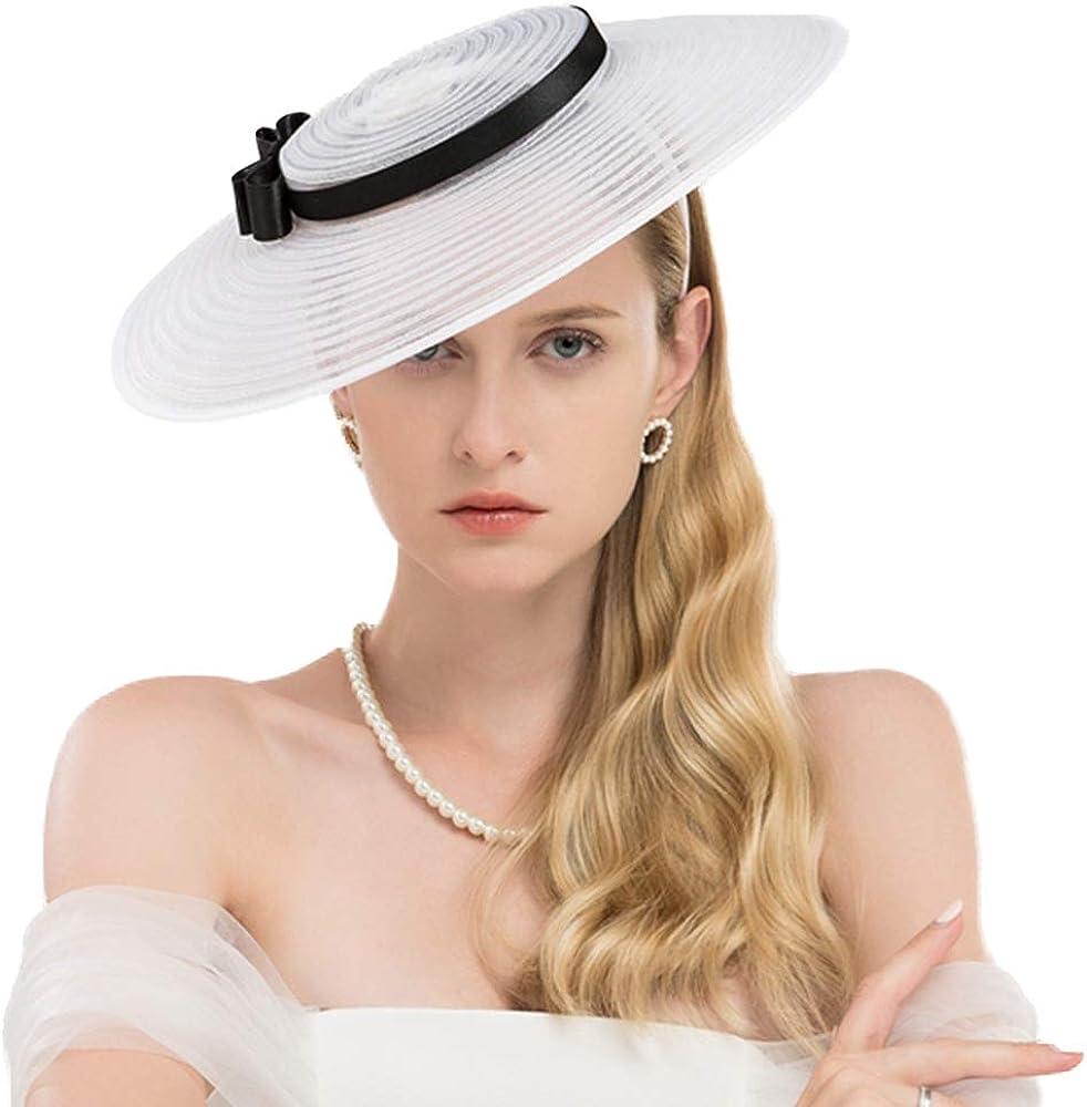 F FADVES Fascinators for Women Elegant Wide Brim Kentucky Derby Church Wedding Hat