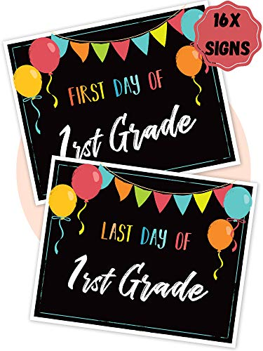16x Beautiful First and Last Day of School Board Signs - Reversible 12' x 9' Back to School Cards for Kindergarten and School Graduation - The Perfect Photo Prop Chalkboard Signs for Lasting Memories