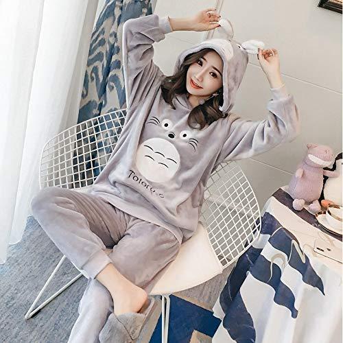 Pyjama Damen Nachthemd Schlafanzug Dicker Warmer Flanell Niedlicher Kapuzenpyjama Für Frauen Sets Winter Langarm Coral Velvet Nachtwäsche Homewear M 01