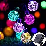 Luces navidad exterior60 LED Cadena de Luz de Bola de Burbujas Solar Sendowtek IP67 Luz de Burbuja de Hadas con Sensor de Fuente de Luz, Luces Decorativas para Patio Jardín Boda Navidad (Multicolor)