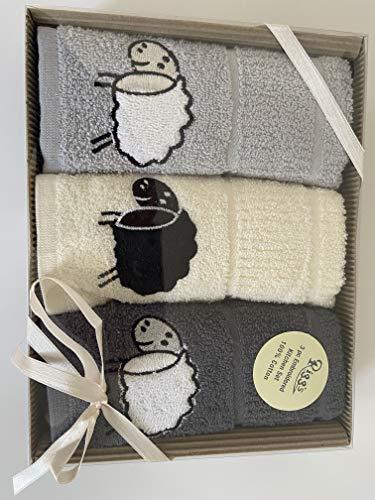 Riggs Thee Pack - Toallas de cocina de oveja, color gris plateado, gris carbón y crema en caja de regalo