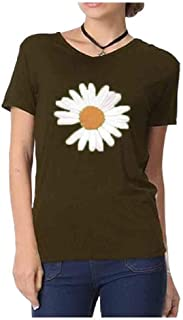 SportsX Womens Modal Cotton Blouse Flower Printed Stretch V Neck T-Shirt Top