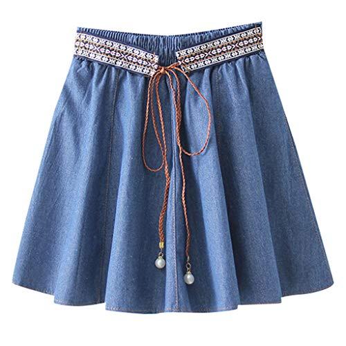 WHSHINE Frauen Nationaler Stil Elegant Hohe Taille Jeans Rock Sommer Vintage Spitze Denim Rock Kurz Röcke Casual Midirock Mädchen A-Line Party Minirock