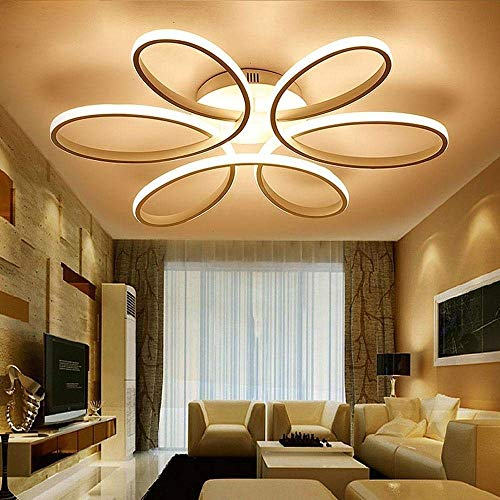 Lighting 93W D74cm-Dimming 3000K-6000K LED Flower Shape Ceiling Light Creative Acrylic Aluminum Lampshade Modern Elegant Matte White Ceiling Lamp Living Room Dining Room Bedroom Ceiling Light Indoor L 6