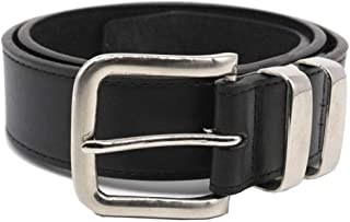 DUKE LONDON DOUBLE METAL LOOP FASHION BELT IN STITCHED BONDED LEATHER (KS126S) 3.5CM WIDE IN WAIST SIZE 42 TO 64