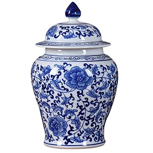 J.Mmiyi Antik Porzellan Vase Blau und Weiß Keramik Blumenvase, Tempel Jar Vase Hand Gemacht China Dekoration Für Zuhause Wohnzimmer,A