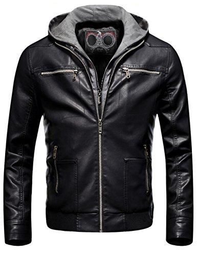 Fairylinks Men's Removable Hoodie Jacket Moto Slim Fit Coat Black