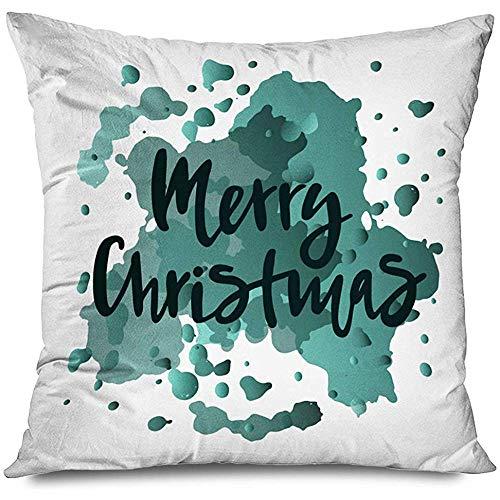 Aoyutiy Kussensloop Vrolijk Kerstmis Typografie Samenstelling Tekst Kalender Sjabloon Verf Uitnodiging Groeten Vakanties Met rits Kussensloop