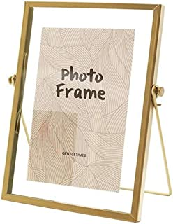 Metal Picture Frames, 5x7 inches Photo Frame Decor with Plexiglas Cover High Definition Glass Desk Pictures Display (Gold)