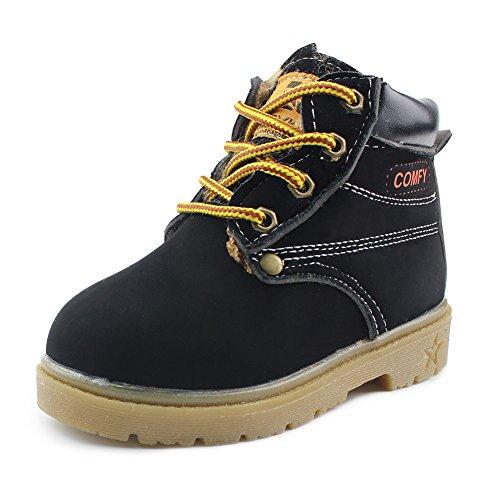Gungun Kids Lace Up Snow Boots Unisex Waterproof Hiking Shoes, Black, Size 6.5 M US Toddler