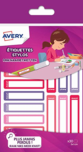 Avery - 30 penlabels Rose/rouge/violet