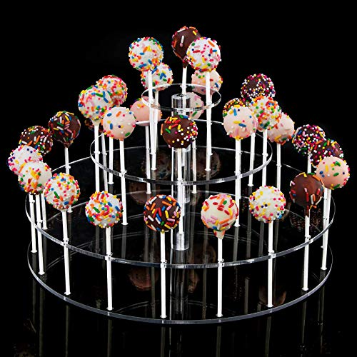 YestBuy Cake Pop Display Stand, 30 Hole Cake Pop Holder, 3 Tiered Lollipop Holder for Weddings, Birthday Parties, Anniversaries Gift, Halloween, Christmas Candy Decorative (Clear)