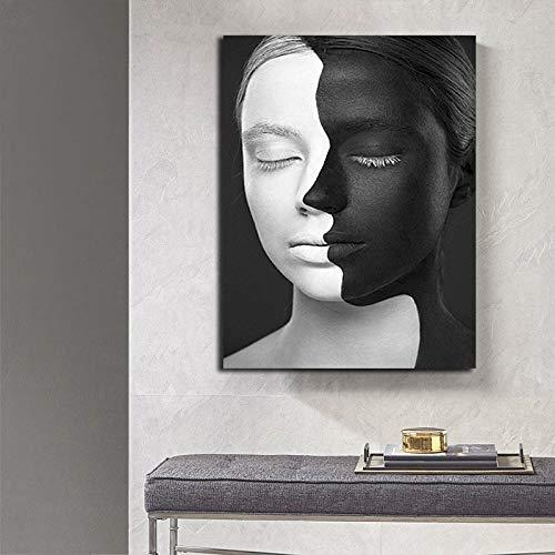 YuanMinglu Schwarzweiss-Plakatbilder Moderne Wandkunst-Dekorationsplakate und -drucke, die Wohnzimmerhauptdekoration zeichnen Rahmenlose Malerei50x75cm