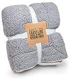 Charcoal Grey & White Sherpa Blanket - Sherpa Throw Blankets, Soft Blanket | Throw Blanket for Couch, Plush Throw Blankets, White Throw Blanket, Fleece Blanket, Fluffy Blanket, 60.5' x 48'