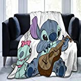 Persimmon Wind Year Lilo Stitch Blanket,Super Soft Fleece Warm Fluffy Blankets Easy to Care All Season Suitable Quality80 x60