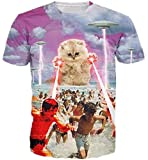 HWHColor Men Women 3D Printed Laser Cat Funny T Shirt Casual Graphic Tee