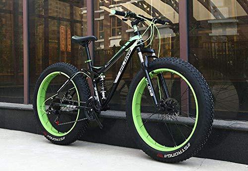 Bicicleta de montaña Fat Tire para adultos, cuadro de acero con alto contenido de carbono, cuadro de suspensión doble rígido, freno de doble disco, neumático de 4.0 pulgadas,C,26 inch 27 speed