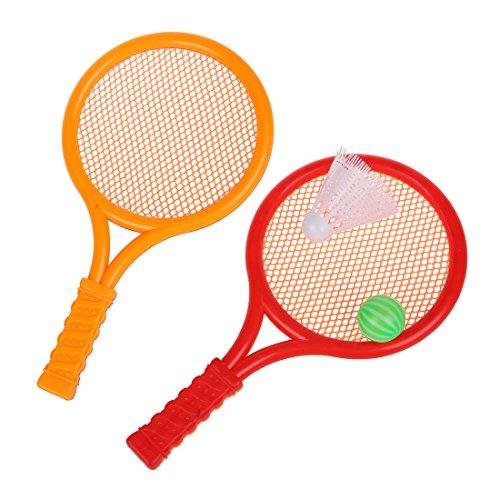 Andifany Juguete Raqueta de Tenis Badminton Plastico Naranja Rojo para Ninos