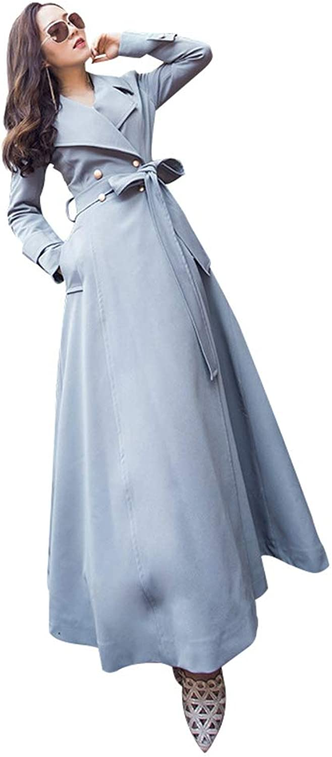 LHHJ Coat Polyester Long Sleeve Long Female Jacket bluee