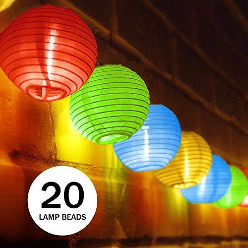 Spardar Solar-Lichterkette, 20 LED-Laternen 4,8 m, wasserdicht, für den Außenbereich, solarbetrieben, chinesische Laternen, Lichterkette für Festival, Garten, Hochzeit, Party, Hof, Heimdekoration bunt