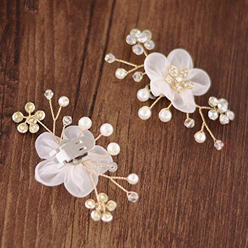 SimpleLife Schoenclips, bloemenmotief, gesp, gesimuleerde parels, bruiloft, decoratief voor vrouwen, sandalen, bedels, kleding sieraden