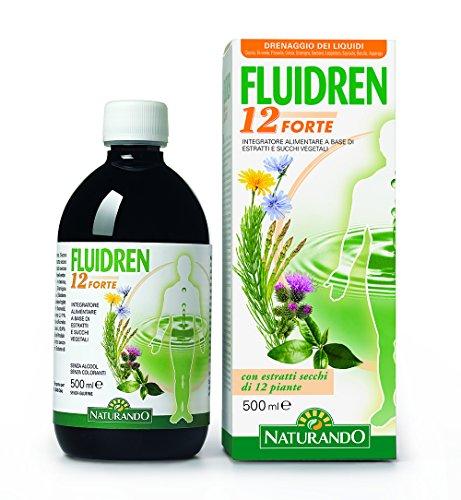 NATURANDO Fluidren 12 Forte 500 ML Integratore Alimentare Drenante per Eliminare i Liquidi in Eccesso