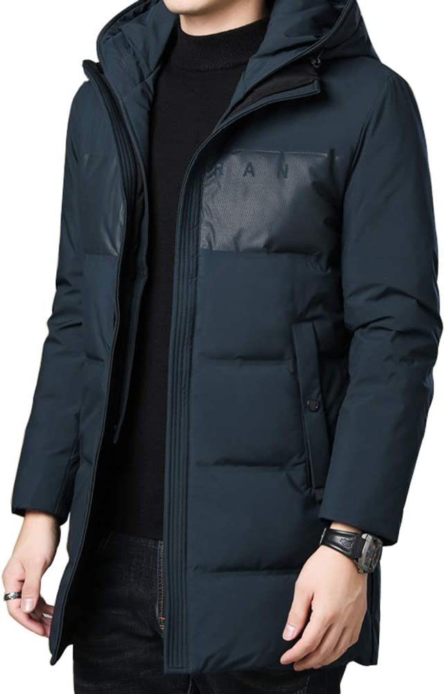 Down jacket Medium Long Hooded, Middle-Aged Men's Thicken Warm Jacket, Casual Winter Clothing, Filling:90% White Duck Down (Black, Khaki, Dark Green)
