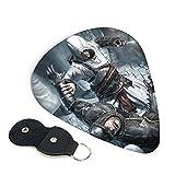 Assassin's Creed Ezio Auditore - Juego de 6 púas con soporte para guitarras únicas regalo para los amantes de la música, fácil de pegar, seleccione varios tamaños de púas0,71 mm