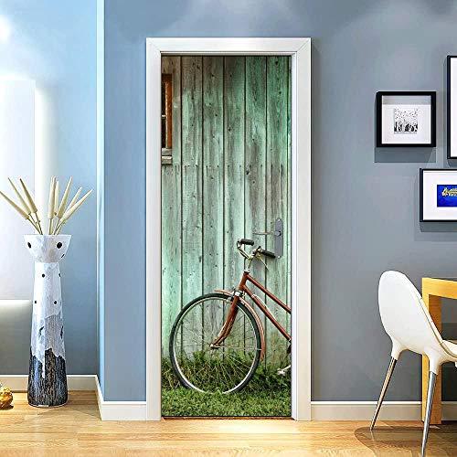 KEXIU 3D Bicicleta de puerta verde PVC fotografía adhesivo vinilo puerta pegatina cocina baño decoración mural 77x200cm