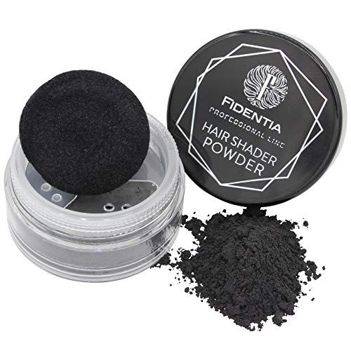 Fidentia Hair Shader Powder | Concealer haarpoeder voor haarverdikking en laminering | onmiddellijk meer haardichtheid (zwart)